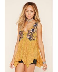 Forever 21 - Yellow Floral Print Self-tie Blouse - Lyst