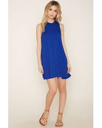 Forever 21 - Blue Mock Neck A-line Dress - Lyst
