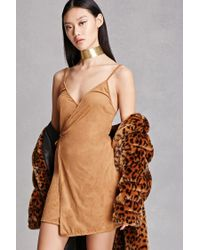 Forever 21 | Natural Faux Suede Wrap Dress | Lyst