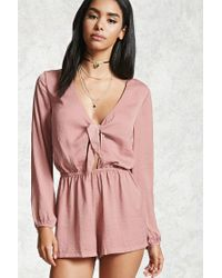 c8ae5771bbc Lyst - Forever 21 Crinkled Satin Tie-front Romper in Pink