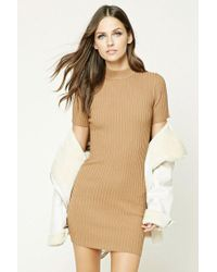 Forever 21 | Natural Ribbed Knit Mini Dress | Lyst