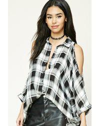 Forever 21   Black Open-shoulder Plaid Shirt   Lyst