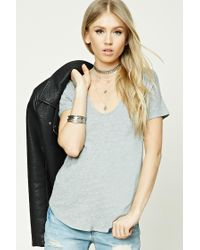 Forever 21 | Gray Ribbed Knit Top | Lyst