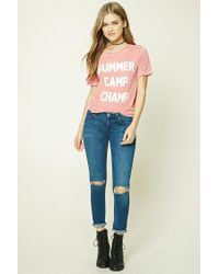 Forever 21 Pink Women's Summer Camp Champ Graphic Tee Shirt