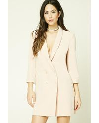 Forever 21 | Natural Double-breasted Longline Blazer | Lyst