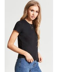 Forever 21 - Black Slub Knit Crop Top - Lyst