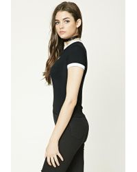 Forever 21 - Black Totally Late Ringer Tee - Lyst