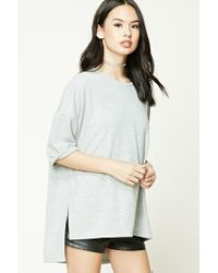 Forever 21 | Gray Heathered Knit High-low Top | Lyst