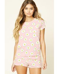 Forever 21 - Multicolor Over Easy Egg Print Pyjama Set - Lyst