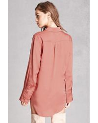 Forever 21 Pink Sheeny Satin Shirt