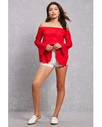 Forever 21 - Red Off-the-shoulder Bell Top - Lyst