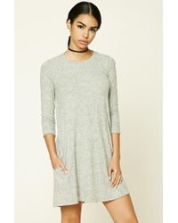 cc0ddf4e8abe Lyst - Forever 21 Marled Knit Swing Dress in Gray