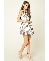 Forever 21 White Floral Print Jacquard Dress