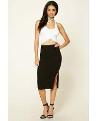 Forever 21   Black Ribbed Knit Pencil Skirt   Lyst