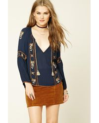 Forever 21 | Blue Embroidered Peasant Top | Lyst