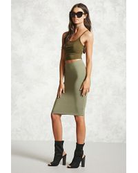 Forever 21 | Green Stretch-knit Bodycon Skirt | Lyst
