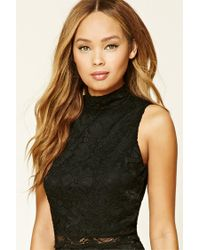 Forever 21 | Black Floral Crochet Lace Top | Lyst