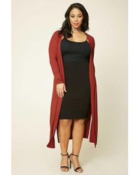 Forever 21   Red Plus Size Longline Knit Cardigan   Lyst