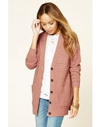 Forever 21   Pink Button-front Ribbed Cardigan   Lyst