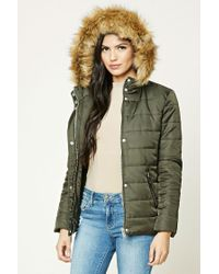 Forever 21 | Green Faux Fur Trim Puffer Jacket | Lyst
