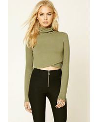 Forever 21 | Green Faux Wrap Crop Top | Lyst