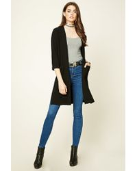 Forever 21   Black Textured Open-front Duster Coat   Lyst