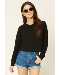 Forever 21 | Black French Terry Knit Pullover | Lyst