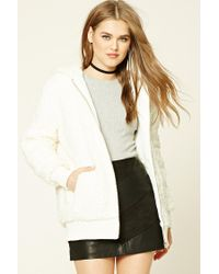 Forever 21 | Natural Faux Shearling Hooded Jacket | Lyst