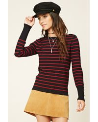 Forever 21 | Red Buttoned Stripe Knit Top | Lyst