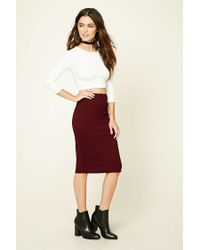 Forever 21 | Red Stretch-knit Pencil Skirt | Lyst