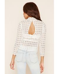 Forever 21 White Mock Neck Crochet Lace Top