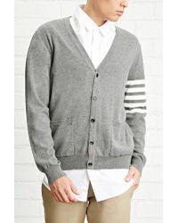 Forever 21   Gray Stripe-sleeve Cardigan for Men   Lyst