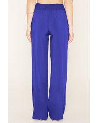 Forever 21 | Blue Wide-leg Smocked Pants | Lyst