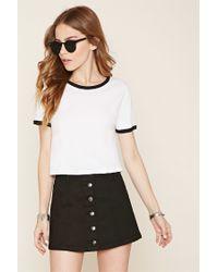 Forever 21 | Black Button-front Denim Mini Skirt | Lyst