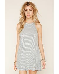 Forever 21 - Gray Striped Trapeze Mini Dress - Lyst
