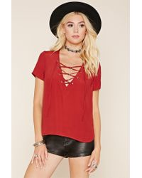 Forever 21 Red Crinkled Lace-up Top
