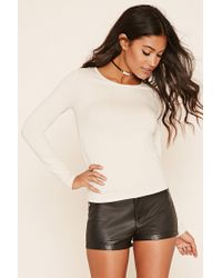 Forever 21   Natural Ribbed Knit Top   Lyst