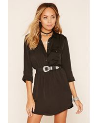 Forever 21 | Black Button-front Shirt Dress | Lyst