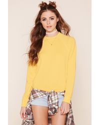 Forever 21 | Yellow Heathered Raglan Sweatshirt | Lyst