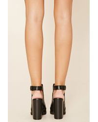 Forever 21 - Black Cutout Faux Leather Booties - Lyst