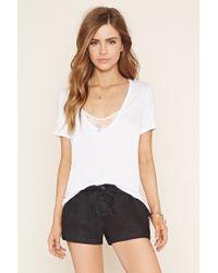 Forever 21 | Black Linen Drawstring Shorts | Lyst