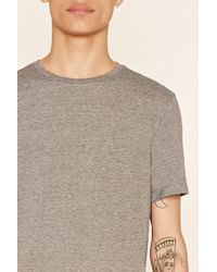 Forever 21 | Gray Micro-striped Colorblock Tee for Men | Lyst