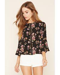 Forever 21 | Black Floral Print Crochet Top | Lyst