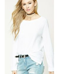 Forever 21   White Waffle Knit Sweater   Lyst