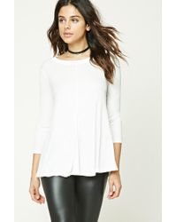 Forever 21   White Ribbed Knit Trapeze Top   Lyst
