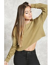 Forever 21 | Green Heathered Cropped Sweatshirt | Lyst