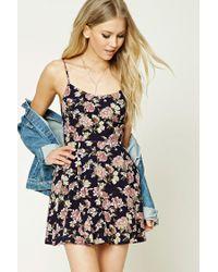 Forever 21   Blue Floral Print Skater Dress   Lyst