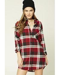 Forever 21 | Red Buffalo Plaid Shirt Dress | Lyst