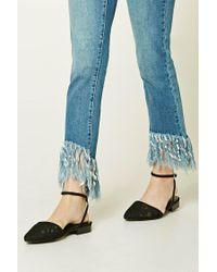 Forever 21 | Black Crochet Ankle-strap Flats | Lyst