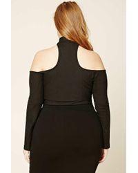 Forever 21 - Black Plus Size Open-shoulder Top - Lyst